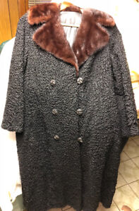 Jacket coat w/ fur collar