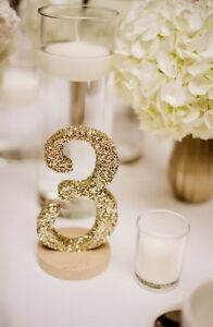 Glitter Table Numbers - Champagne Gold - Wedding Decor