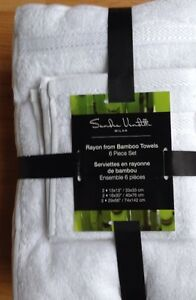 6 piece Rayon from Bamboo Towels, organic, white or ivory.