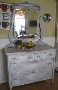 Ornate Antique Dresser w/ Mirror~RESTYLED!~Chalk Painted!