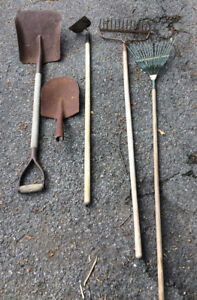ASORTMENT OF GARDEN TOOLS, RACKS, SPADE, HOE JUST 50.00