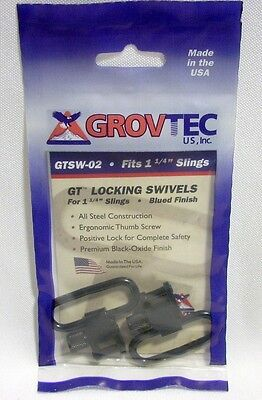"Grovtec Black Locking Swivels for 1.25"" Gun Rifle Slings Hunting Shooting"