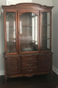 French Provincial Glass Display Buffet and Hutch ONLY $100!