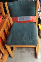Well loved occasional chair wood frame green fabric seat