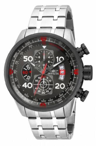 Invicta 17204 Men's Aviator Chronograph Gunmetal Dial Steel Bracelet Watch