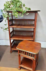 Vintage Rattan Shelf and Side Table