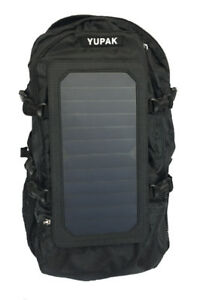 Black Solar Powered Backpack with 7Watts Solar Panel