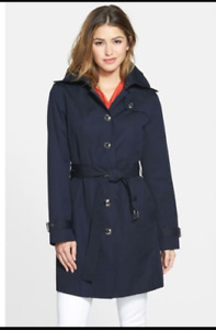 BNWT Michael Kors Dark Navy Hooded Trench Coat Medium - Giftable