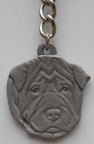 SHAR PEI DOG PEWTER KEY CHAIN, RAWCLIFFE COMPANY