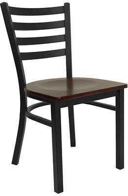 Mahogany Wood Seat Metal Ladder Back Restaurant Chair