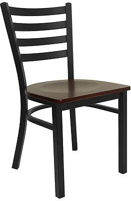 Restaurant Metal Chair Ladder Back Mahogany Wood Seat Lifetime Frame Warranty