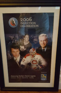 2006 Hockey Hall of fame poster signed and framed Patrick Roy