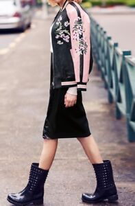 Floral embroidered leather bomber jacket