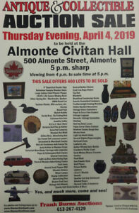 LARGE ANTIQUE AUCTION Thursday April 4th Almonte