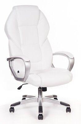 Sedia poltrona direzionale in ecopelle girevole per ufficio o studio bianca