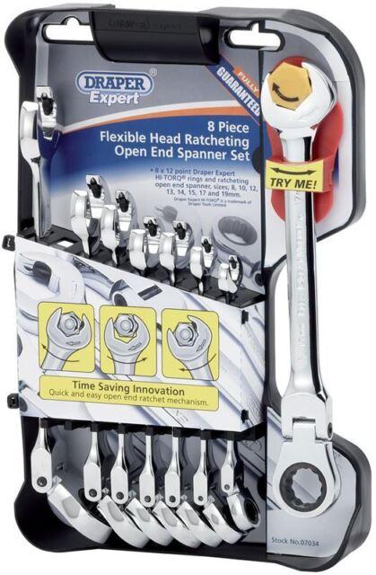 Draper 8 piece Expert Hi-Torq Metric Flexible Head Ratcheting Comb. Spanner Set