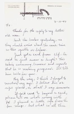 Vintage 1940 letter from sci-fi writer WALTER C. LIEBSCHER to FORREST J ACKERMAN