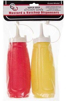 Ketchup Mustard Dispenser Squeeze Bottle Set Condiment  Red Yellow