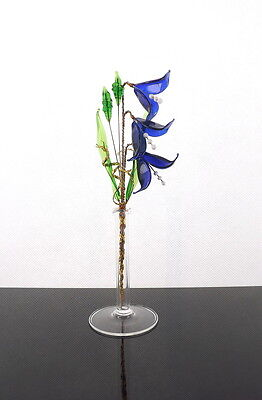 - Dark Bluebells Crystal Glass Flowers Stunning Decoration For Any Room Office New