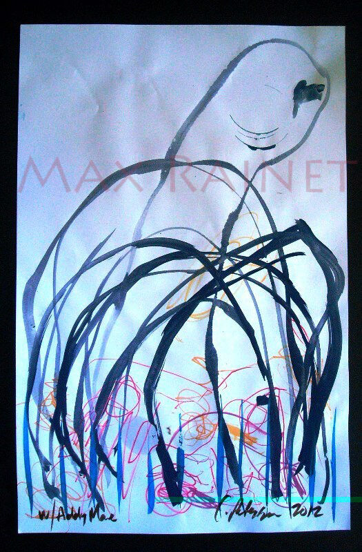 ORIGINAL WATERCOLOR FINE ART PAINTING abstract organic form PETERSON w ADDY MAE