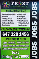 *** JOBS *** GUARANTEED FIXED DAILY SHIFTS *** 40 HOURS/WEEK ***