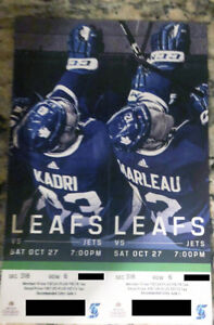 LEAFS vs JETS - 2 Tickets - Sat Oct 27- Section 318