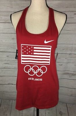 Nike Tee Women's Large Red USA Olympic Rio De Janeiro Athletic Cut Tank Top