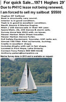 For Quick Sale,  1971 Hughes 29 sailboat well maintained