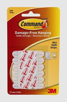 3M Command 12 Mini Clip Refill Strips Decorating Replacement Adhesive Glue -