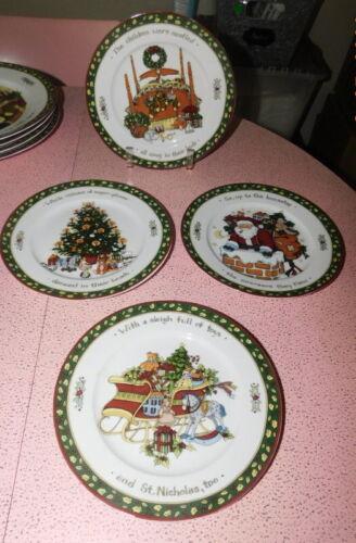 PORTMEIRION SUSAN WINGET A CHRISTMAS STORY SALAD PLATES Series 1