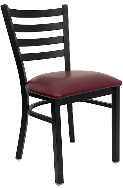 Lot Of 15 Metal Ladder Back Restaurant Chairs W/ Burgundy Vinyl Seat