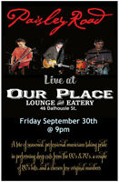 Paisley Road on stage at Our Place September 30th at 9pm