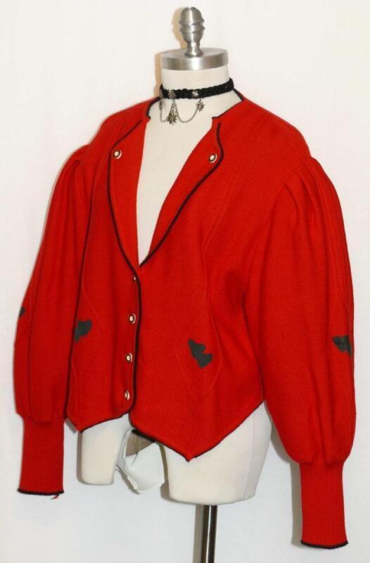 """RED WOOL Jacket SWEATER German Winter Women Knitted HEARTS Walk Dirndl 14 L B44"""""""