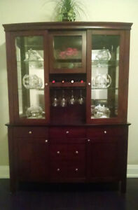Bow-Front Mahogany Stained Wood China Cabinet