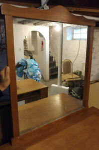 Mirror with wooden frame and brackets for dresser $25