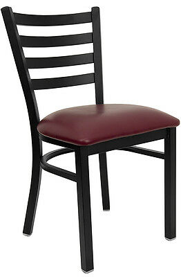 20 Ladder Back Restaurant Chairs Burgundy Vinyl Seat Lifetime Frame Warranty