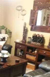 SOLD THANKS KIJIJI  Solid Wood  sofa table/entertainment center