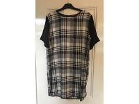 Size 12 Boohoo black and white check monochrome shift dress. Brand new