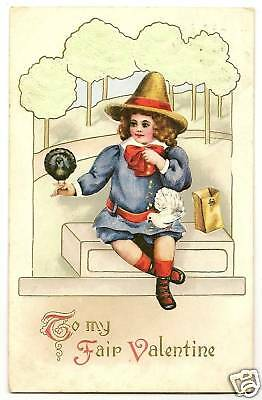 Thanksgiving Theme Pilgrim Child Valentine  Series Postcard - Thanksgiving Theme