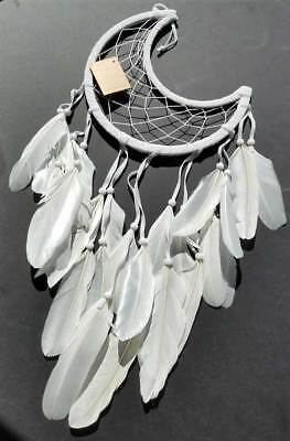 "Half Moon Crescent White Dream Catcher with Feathers Beads, Large 8-1/2"" Hoop"