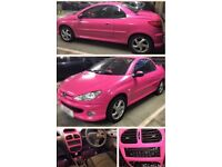 STILL FOR SALE! Pink Wrapped Fine Glitter 2002 Peugeot 206 cc Hard Top Convertible 75k Miles