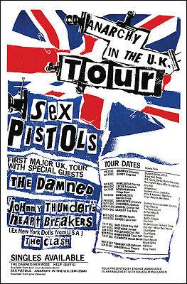 SEX PISTOLS CLASH DAMNED 1976 UK Tour Concert Poster