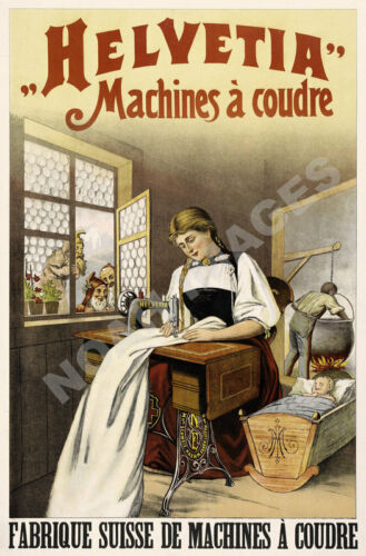 Helvetia vintage sewing machine ad poster 16x24