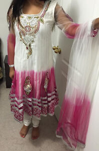 white and pink anarkali suit