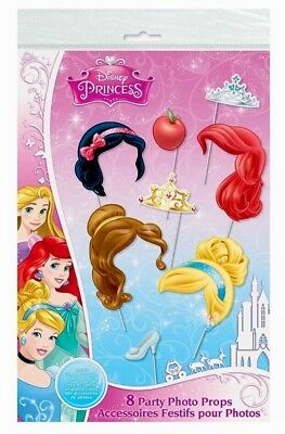 Disney Princess 8 Paper Photo Props Great for birthday parties photo booths NIP