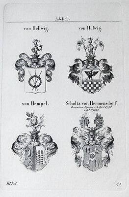 1836 4 Wappen Hellwig Helwig Hempel Scholtz von Hermensdorf Kupferstich Tyroff