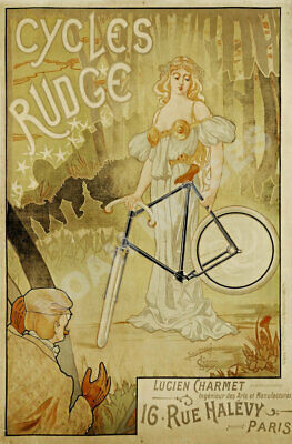 Cycles Rudge Paris vintage french bicycle poster repro 16x24