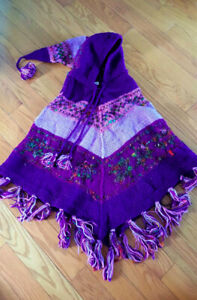 Brand New - Wool & Silk Embroidered Poncho