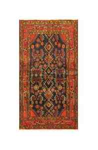 Shiraz Luri Saveh Wool Iran Rug Tapestry in Copper &  Navy