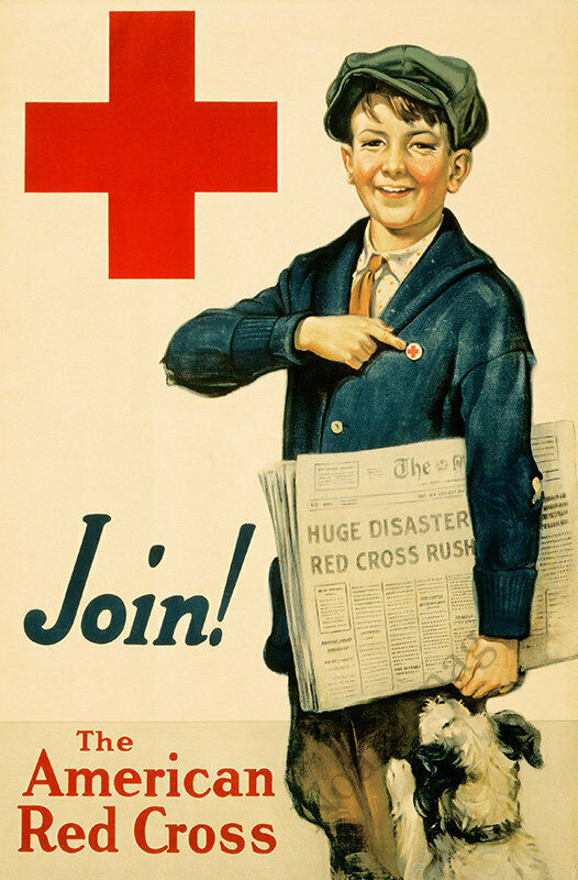The American Red Cross Join newspaper child vintage poster 16x24